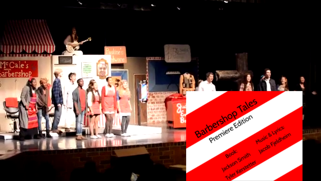 Barbershop Tales on stage at Eastside High School